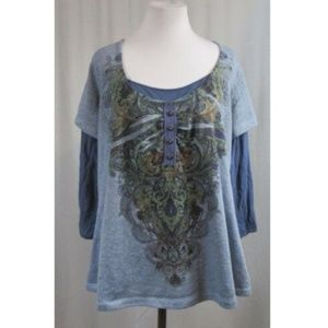 One World Blue Layered Look Print Top 1X